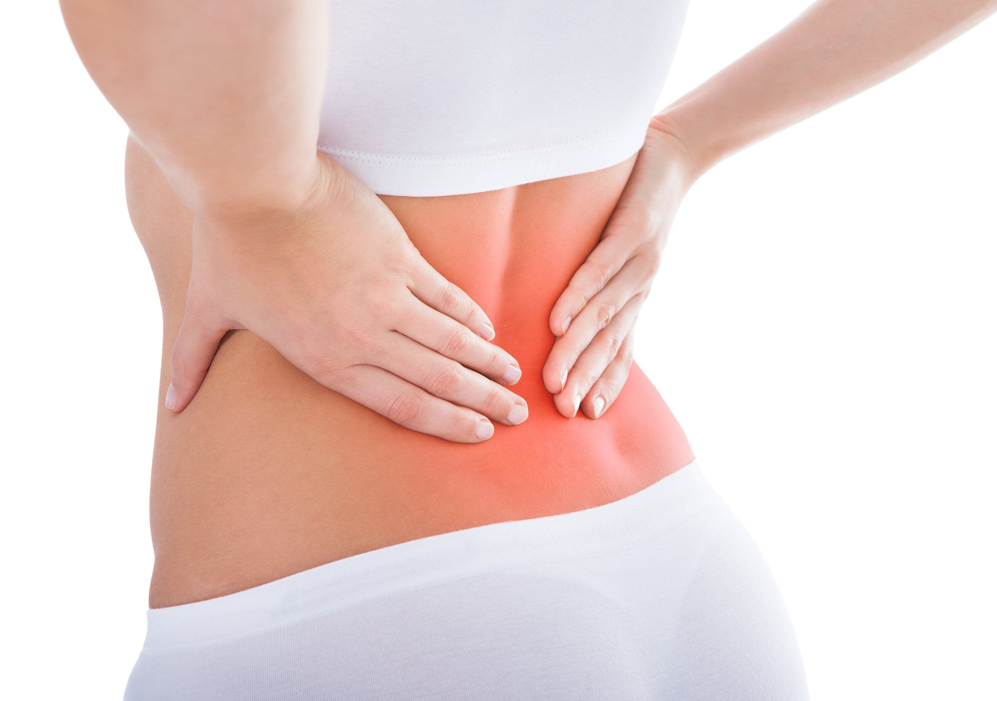 Young Woman With Pain In Her Back Over White Background